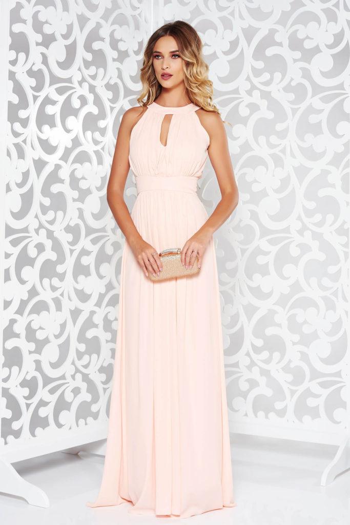 Rochie lunga piersica eleganta de seara cu bust buretat si decupaje interesante cu talia accentuata prin cordon fals LaDonna
