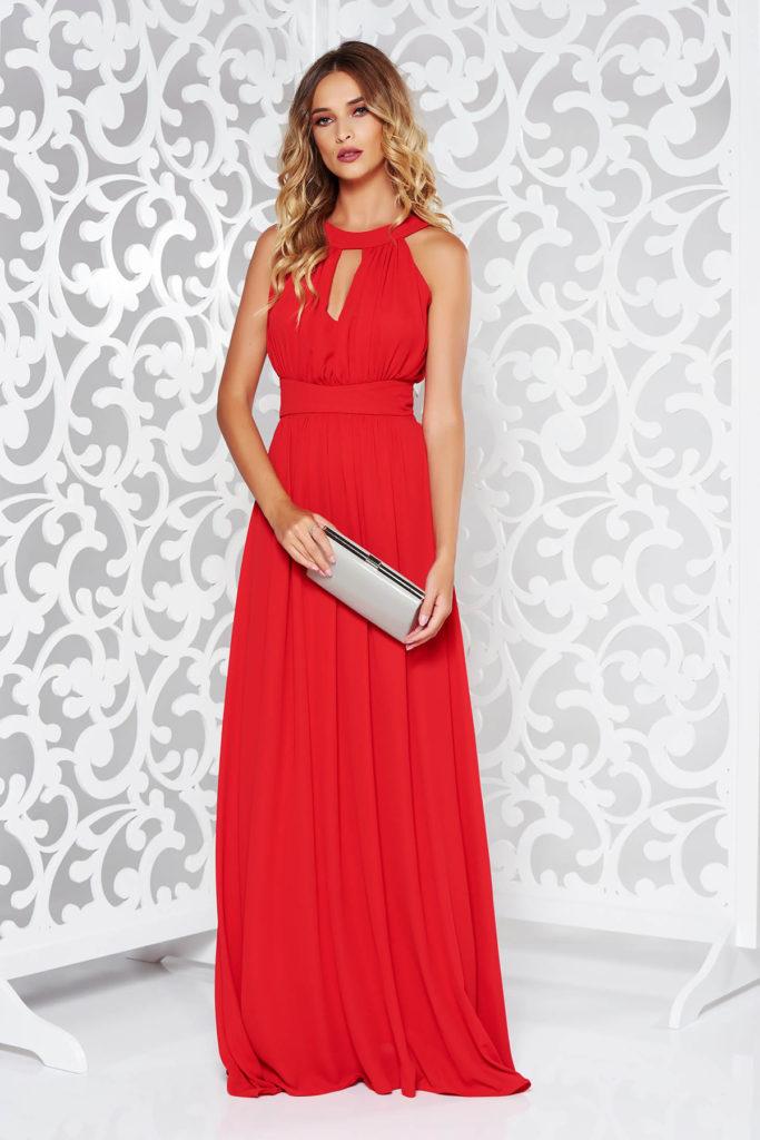 Rochie lunga rosie eleganta de seara cu bust buretat si decupaje interesante cu talia accentuata prin cordon fals LaDonna