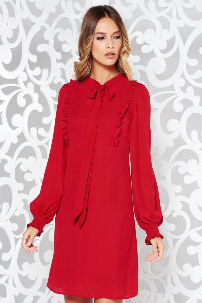 Rochie eleganta de ocazie rosie din voal cu volanase dublata cu captuseala din jersey subtire LaDonna