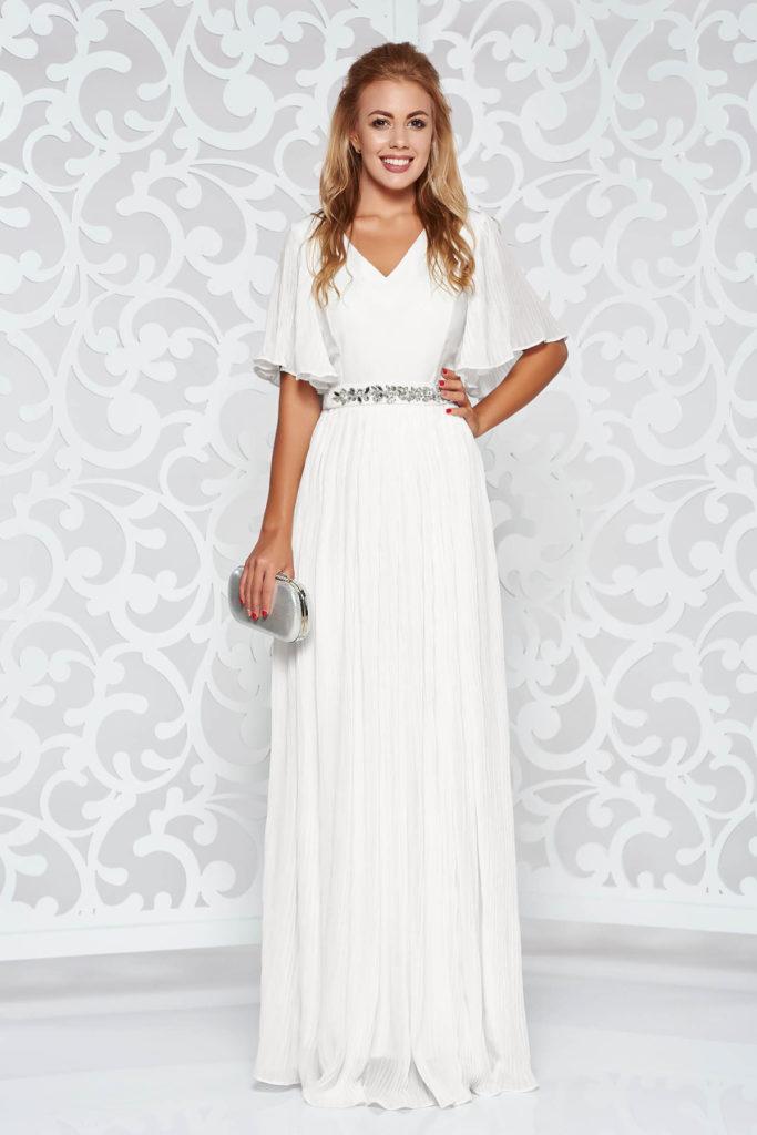 Rochie alba lunga de ocazie de seara din voal diafan plisat pe captuseala satinata si cordon decorat cu pietre strass StarShinerS