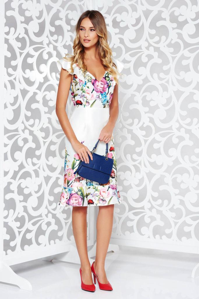 Rochie alba eleganta cu imprimeuri florale colorate din material satinat cu decolteu in v StarShinerS