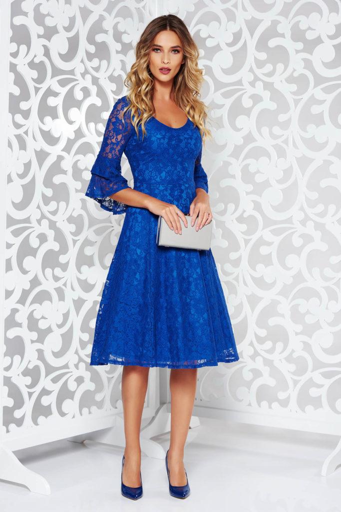 Rochie albastra cu pliuri elegante din dantela de bumbac cu maneci trei sferturi stil clopot cu volanase la capete StarShinerS