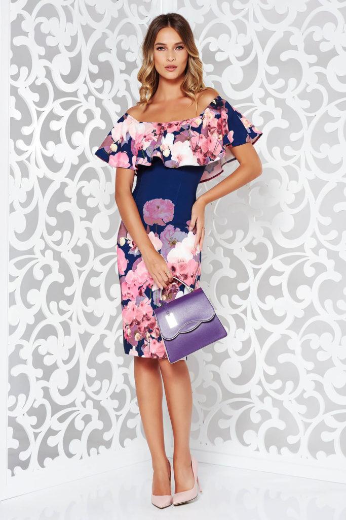 Rochie scurta usor elastica albastra inchis cu imprimeu floral din material subtire cu structura fina StarShinerS