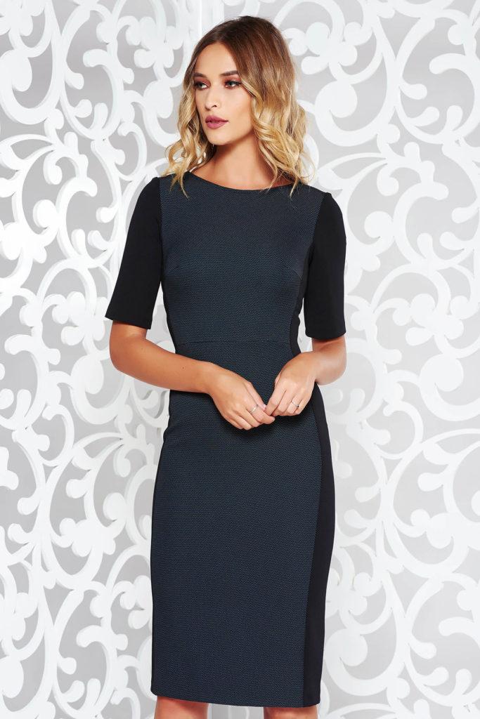 Rochie midi eleganta in stil clasic albastra de zi cu maneci scurte fabricata din stofa calitativa StarShinerS