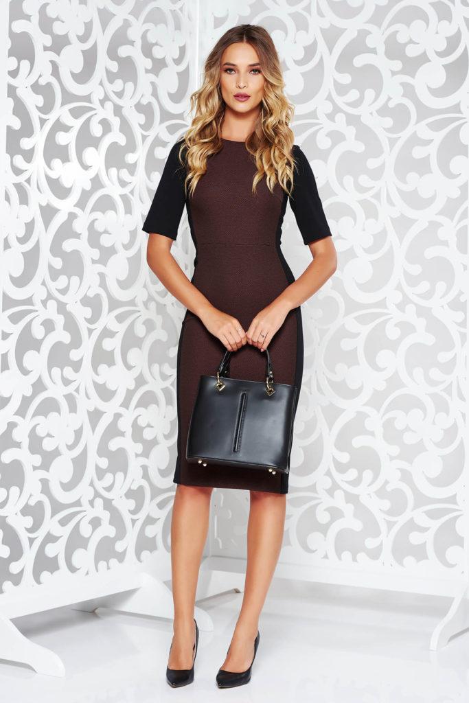 Rochie midi eleganta in stil clasic maro de zi cu maneci scurte fabricata din stofa calitativa StarShinerS