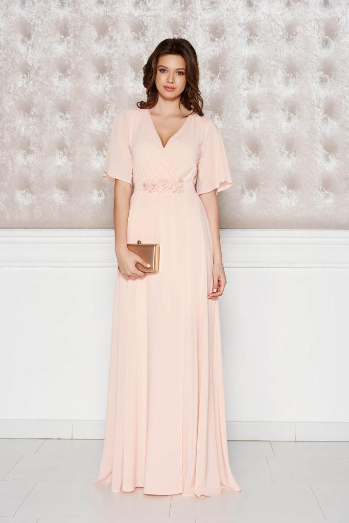 Rochie lunga de lux piersica de nunta cu maneci scurte realizata intr-o croiala confortabila din voal cu cordon in talie StarShinerS