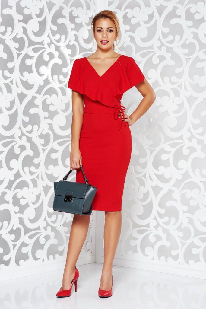 Rochie seducatoare cu decolteu in v rosie eleganta cu volane asimetrice inserate pentru o nota de senzualitate irezistibila StarShinerS
