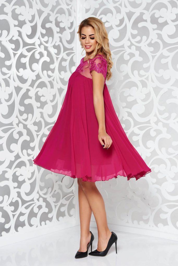Rochie roz de seara din voal cu insertii de broderie diafana si delicata cu aplicatii de paiete StarShinerS