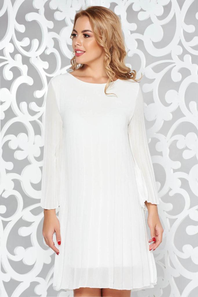 Rochie alba universala de zi plisata din voal cu captuseala din jersey subtire si maneci trei-sferturi SunShine