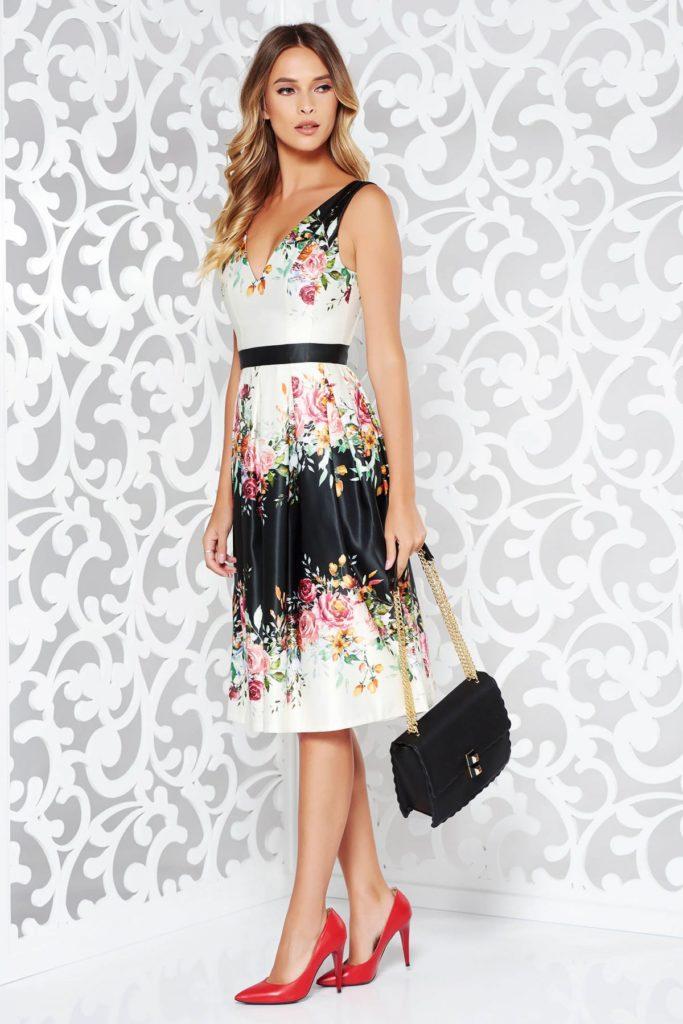 Rochie alba de ocazie confectionata din satin de foarte buna calitate cu imprimeu tip Garden in culori intense