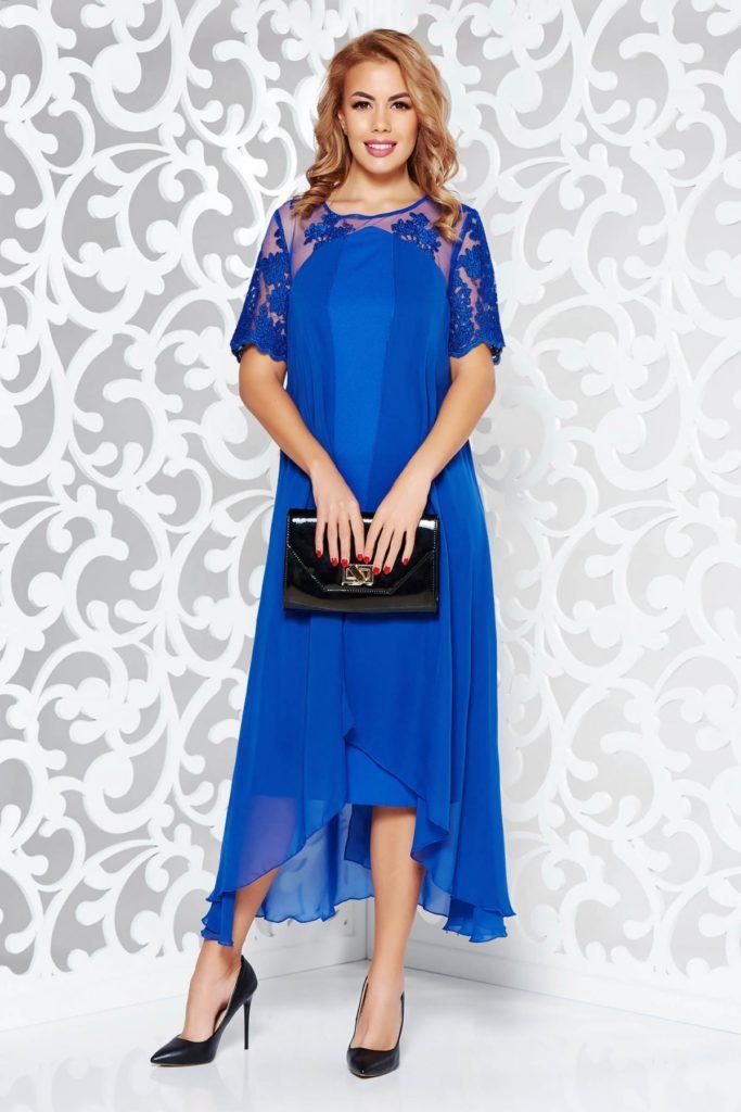 Rochie midi asimetrica de seara albastra din triplu voal si dantela pretioasa aplicata pe tull