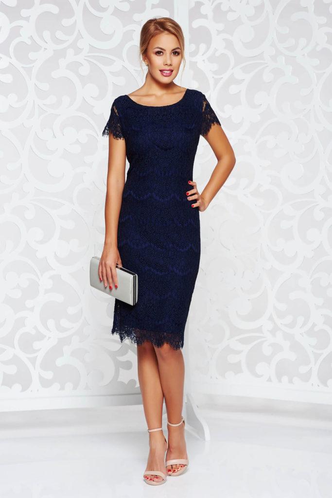 Rochie de seara albastra inchis cu maneci scurte din dantela pe captuseala din jersey
