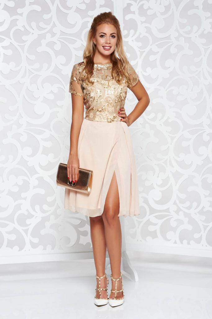 Rochie scurta de nunta crem cu corset din dantela brodata minunata cu aplicatii cu paiete