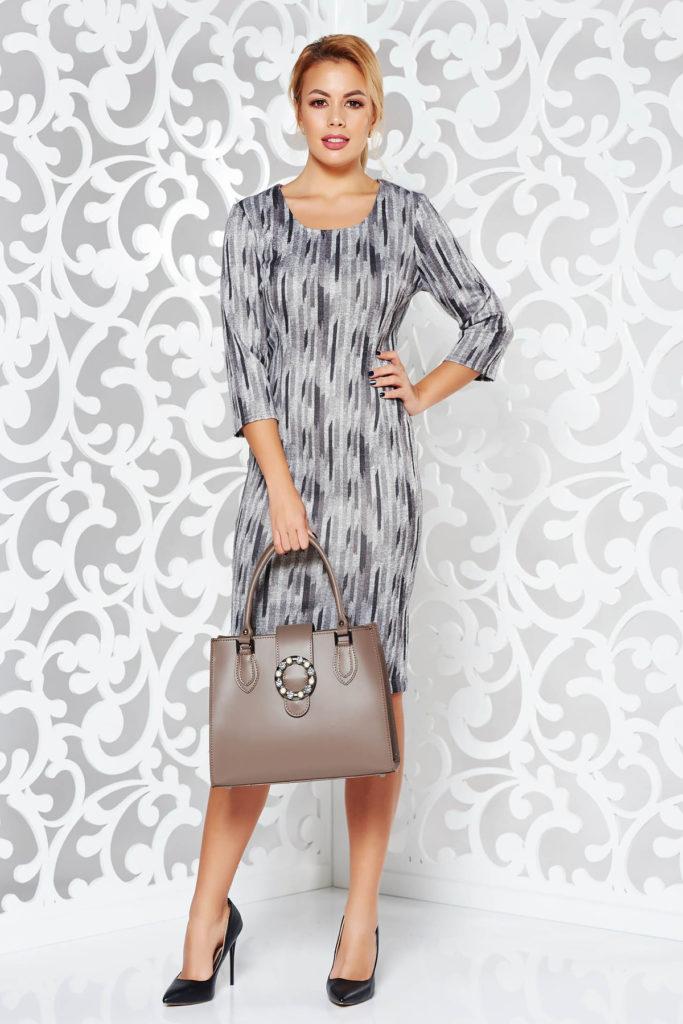 Rochie gri inchis office midi cu croiala mulata pe corp tip creion din material tricotat moale si elastic cu imprimeuri grafice