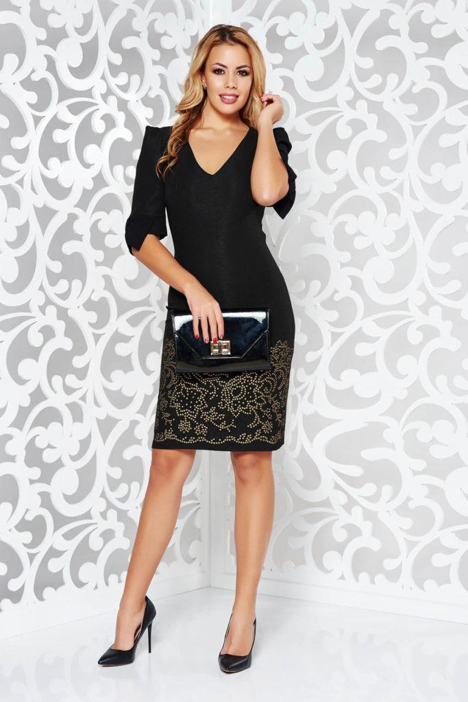 Rochie scurta neagra eleganta clasica cu decolteu in V si maneci scurte fabricata din jaquard elastic