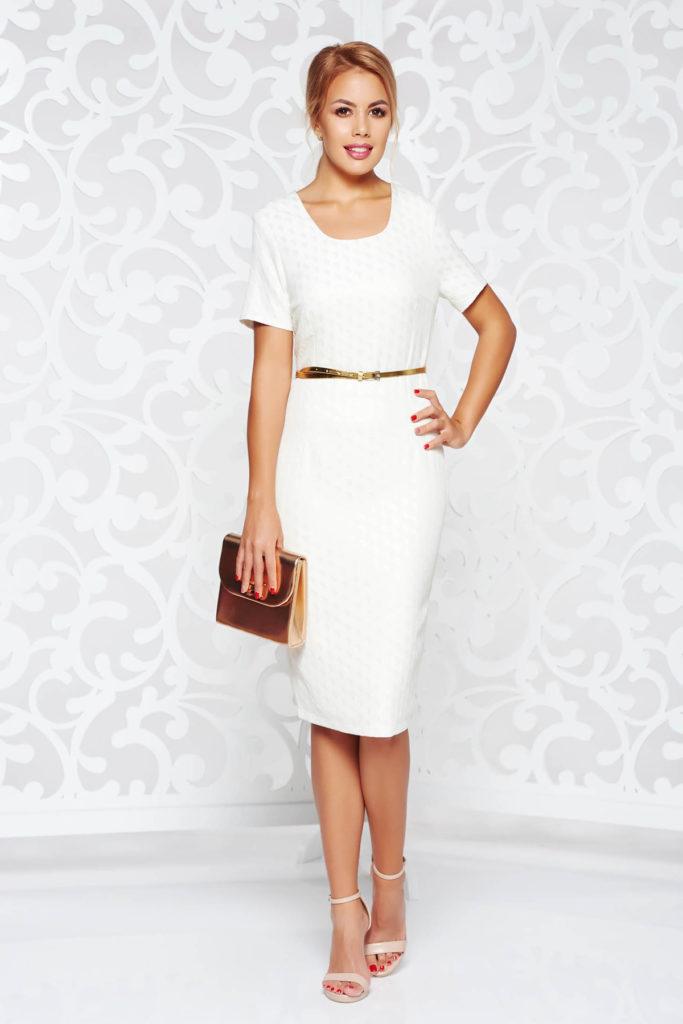 Rochie eleganta stil creion cu maneci scurte de culoare nude cu decolteu rotunjit curea delicata in talie