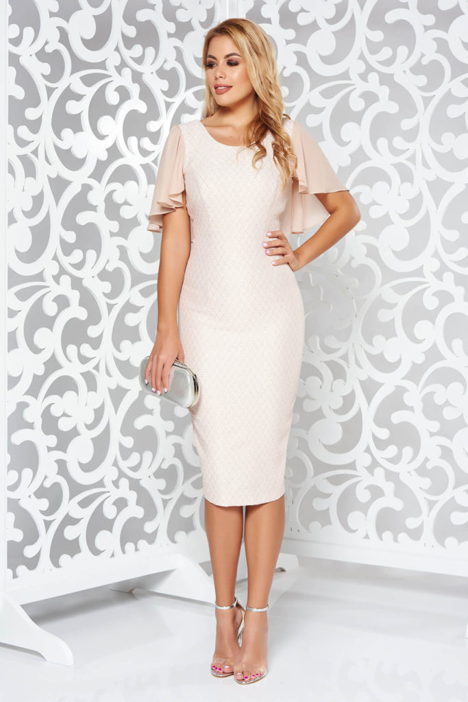 Rochie de seara roz pal deosebit de sofisticata realizata din jaquard cu fir lurex