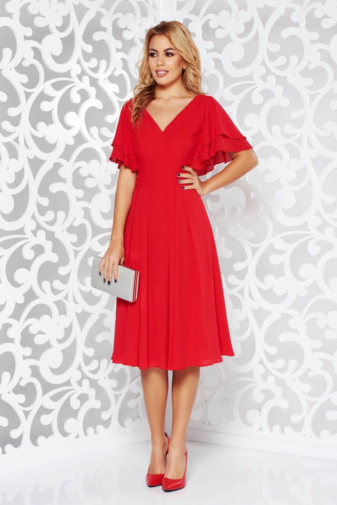 Rochie rosie de seara cu maneci scurte cu volanase din voal fluid cu decolteu in v foarte confortabila la purtat