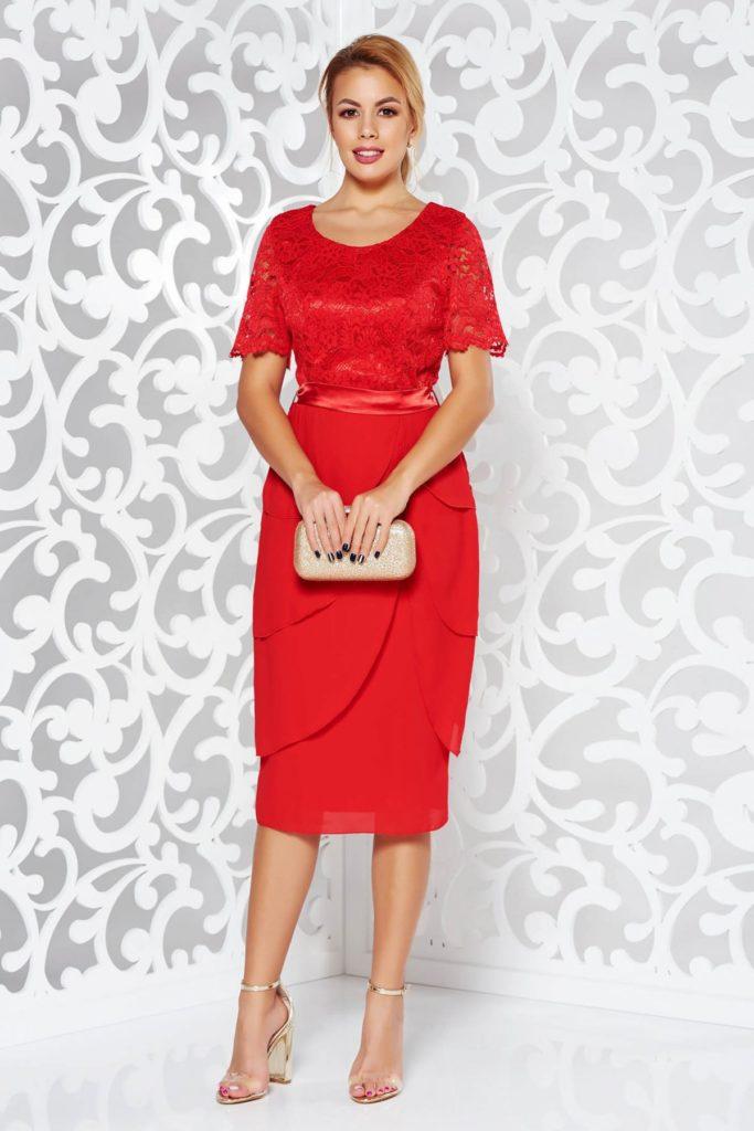 Rochie rosie eleganta midi de ocazie midi cu bust din dantela din bumbac cu model floral