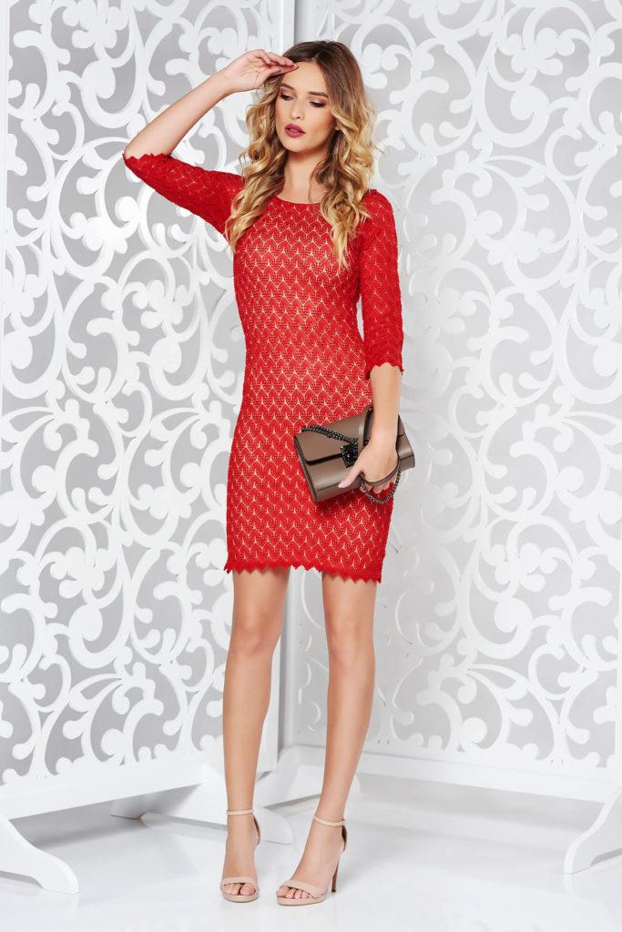 Rochie scurta rosie cu croi mulat eleganta de ocazie realizata din dantela dublata cu jersey subtire si elastic