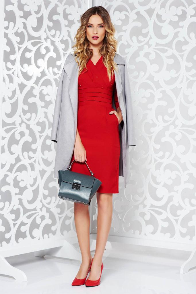 Rochie rosie office clasica de ocazie eleganta cu croi mulat din bumbac cu  margele aplicate pe piept
