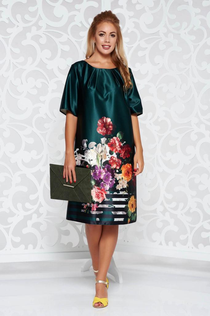 Rochie verde cu maneca scurta din material satinat cu imprimeu floral multicolor si decupaj geometric pe spate