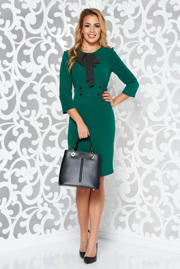 Rochie verde cambrata accesorizata cu o fundita eleganta intr-o croiala tip creion din stofa elastica pe captuseala din milaneza