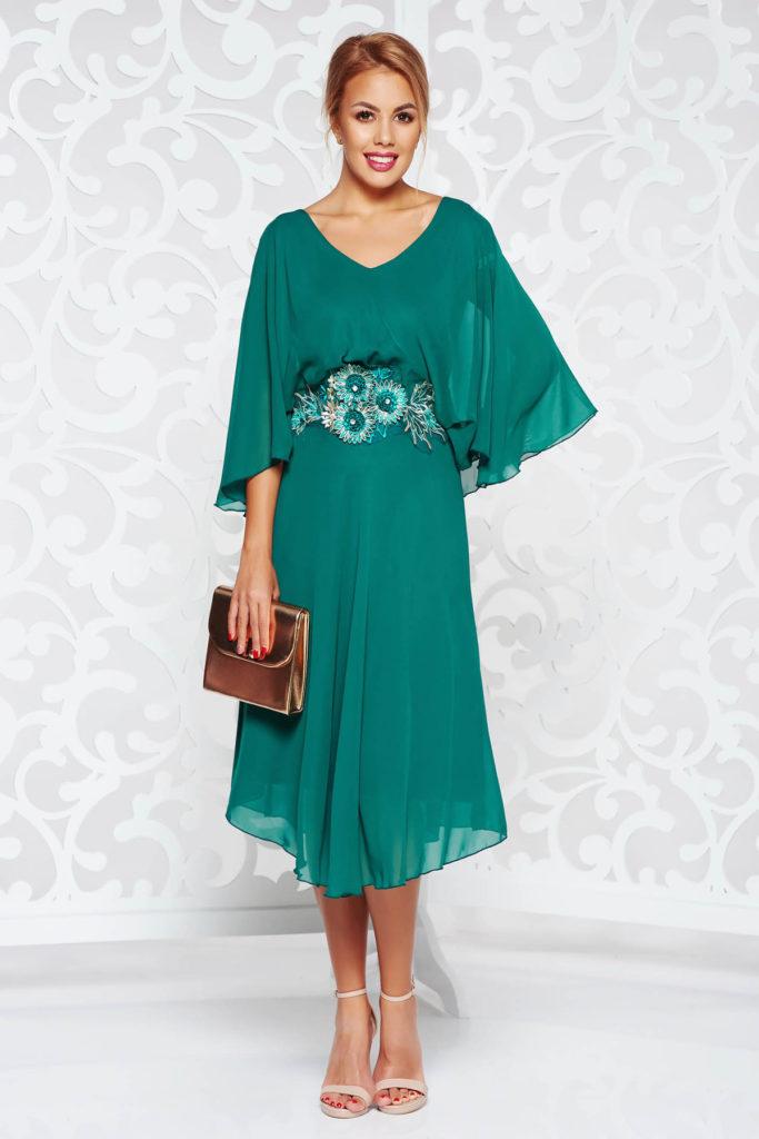 Rochie eleganta verde inchis de ocazie din voal diafan si dantela fina accesorizata cu broderie in talie