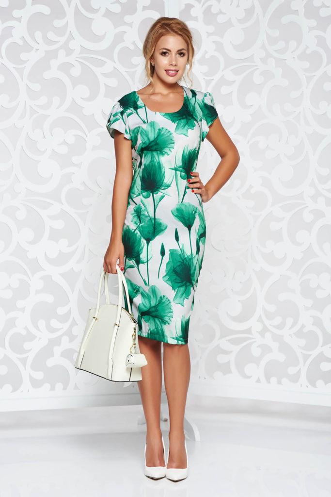 Rochie verde office lejera conica cu imprimeuri florale din material subtire si vaporos