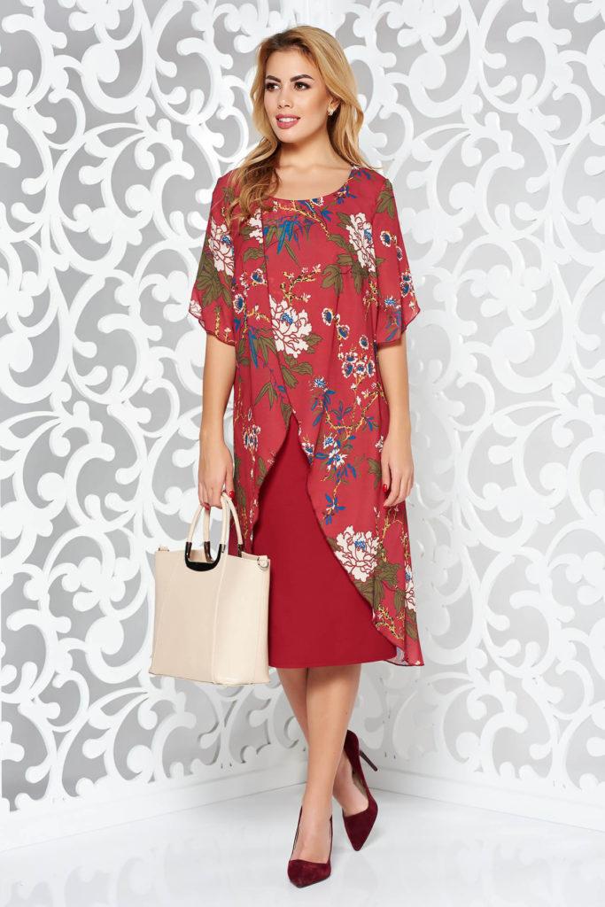 Rochie midi tip creion visinie eleganta din stofa usor elastica cu suprapunere asimetrica din voal cu print floral