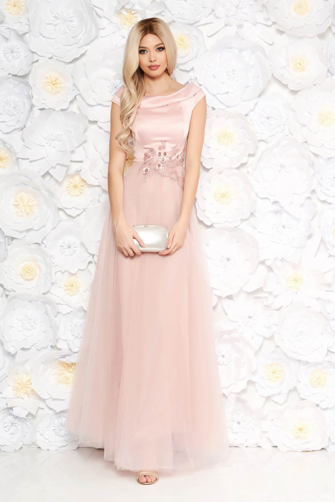 Rochie lunga roz de seara cu fusta din tulle si bust din material satinat accesorizat cu dantela si perle Artista