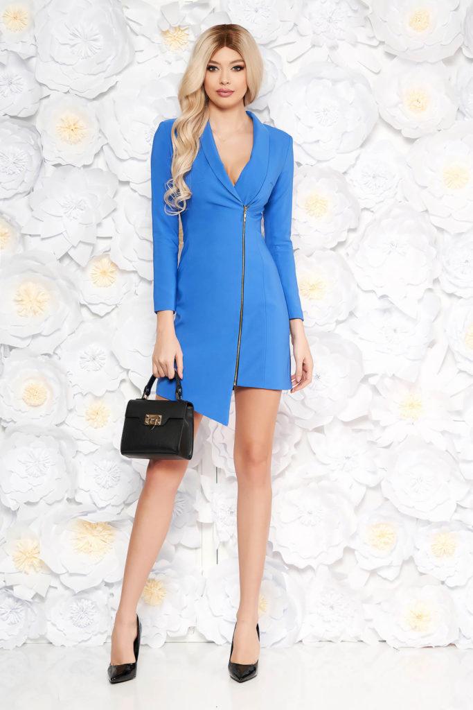 Rochie office albastra de ocazie cu croiala tip sacou asimetrica prevazuta cu fermoar lateral LaDonna