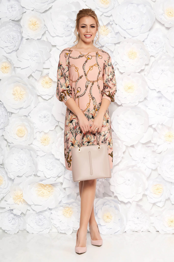 Rochie larga roz cu imprimeu floral si maneci trei sferturi LaDonna