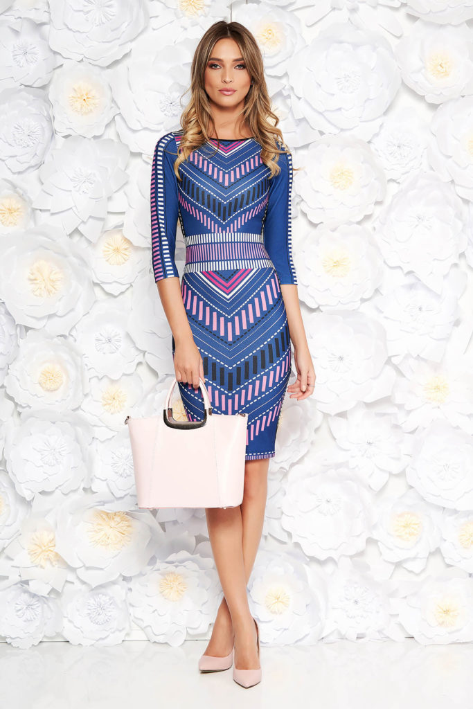 Rochie de zi albastra eleganta mulata pe corp din material elastic cu print CUSTOM MADE marca StarShinerS