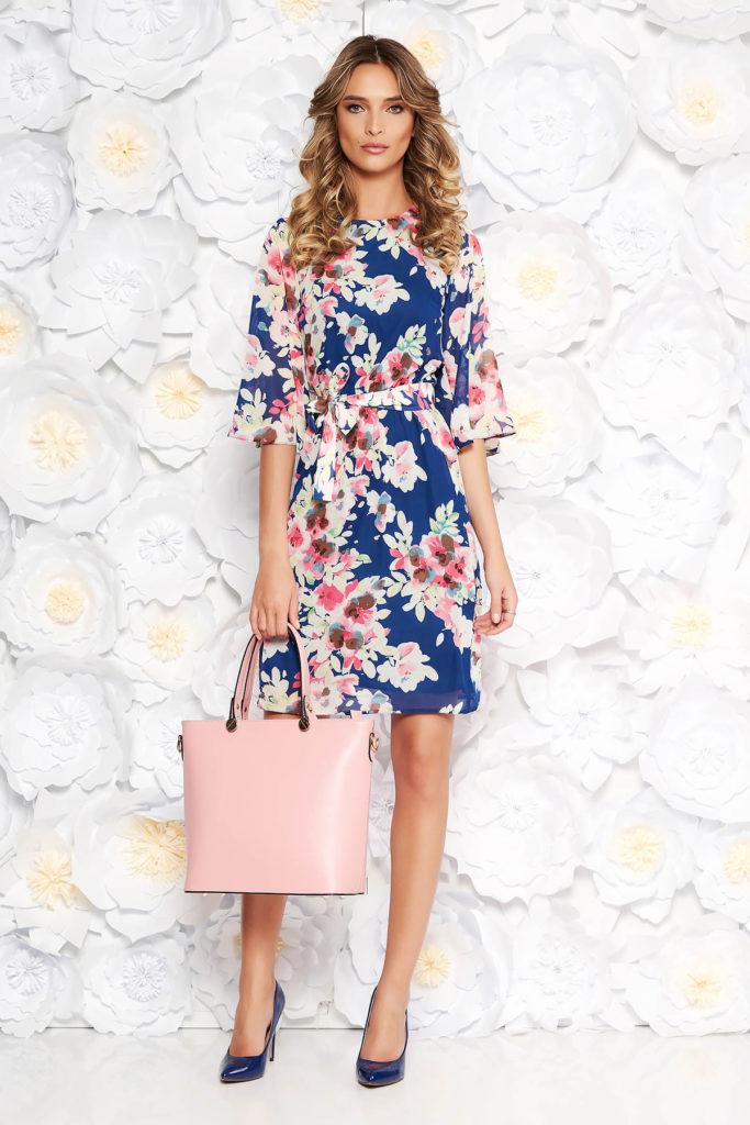 Rochie albastra de zi cu imprimeuri florale de primavara realizata din voal diafan StarShinerS