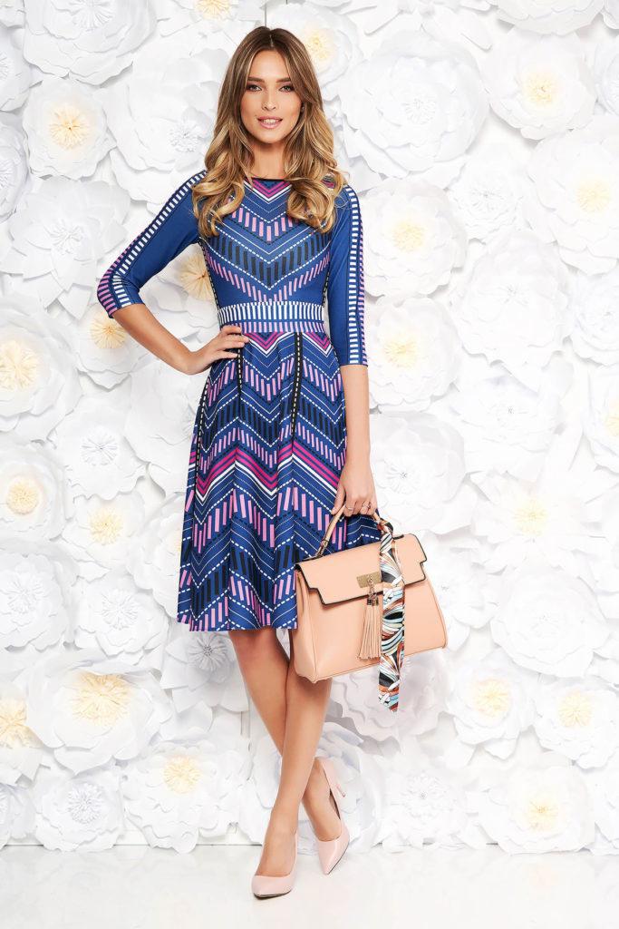 Rochie de zi albastra in clos din material elastic cu print CUSTOM MADE marca StarShinerS