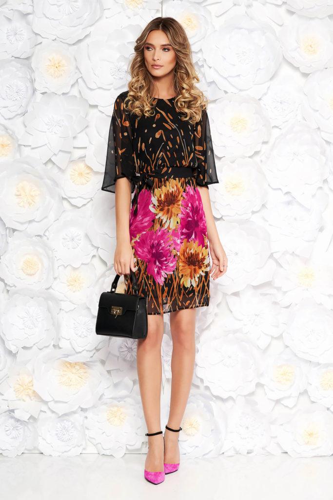 Rochie maro de zi cu imprimeuri florale de primavara realizata din voal diafan StarShinerS