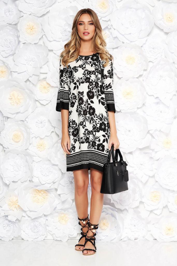 Rochie neagra de zi cu imprimeuri florale intr-un design cu croiala larga din bumbac StarShinerS