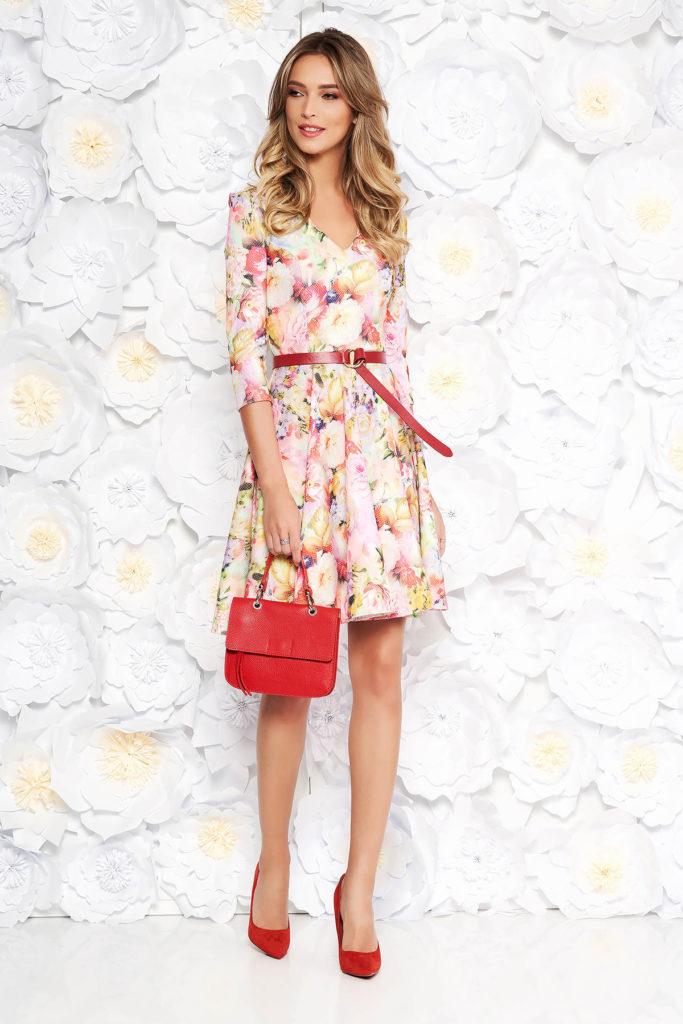 Rochie in clos eleganta roz pentru office cu imprimeu floral colorat si curea subtire in talie StarShinerS