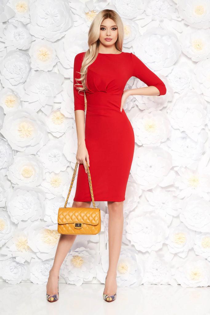 Rochie mulata rosie elastica pentru office StarShinerS intr-o croiala eleganta tip creion