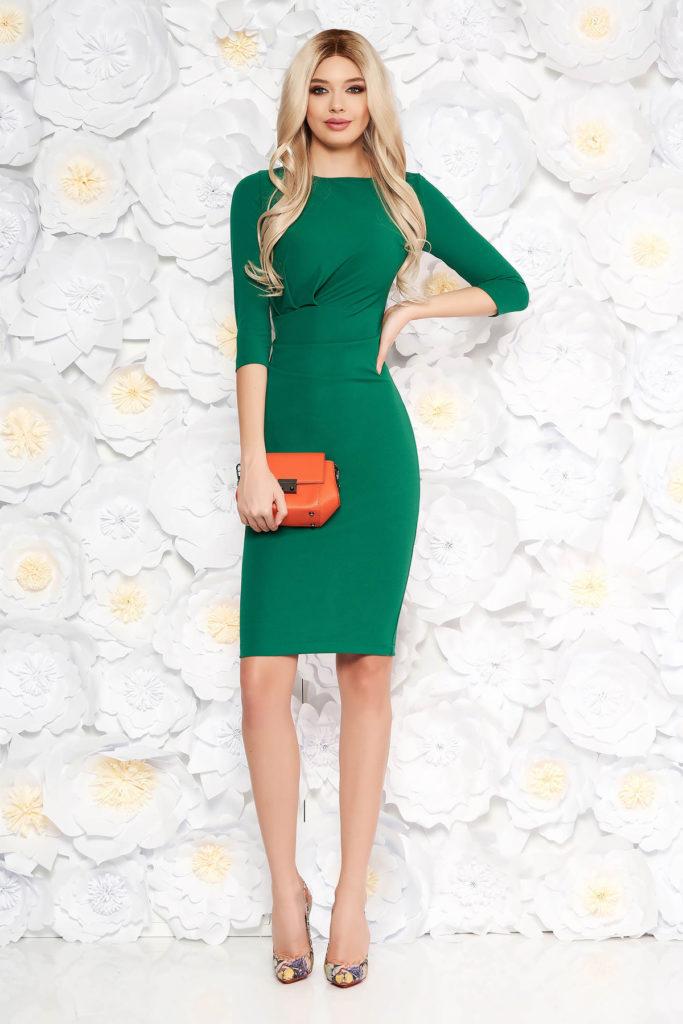 Rochie mulata verde elastica pentru office StarShinerS intr-o croiala eleganta tip creion