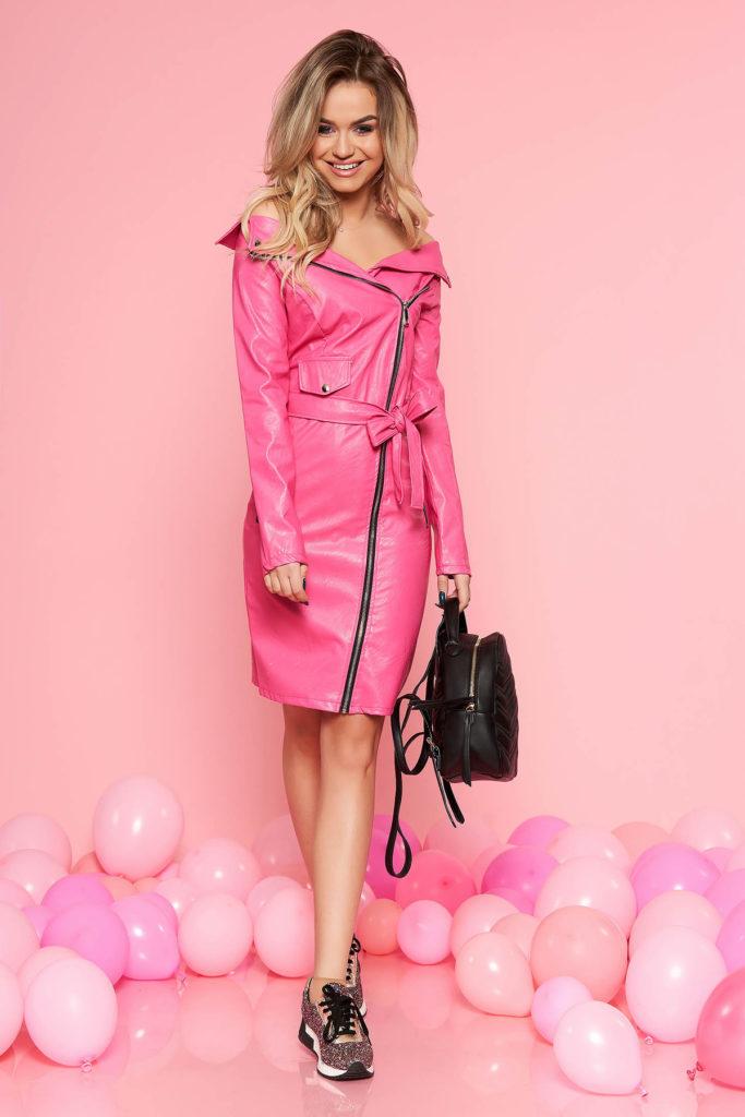 Rochie midi feminina roz de party din piele ecologica SunShine prevazuta cu cordon in talie
