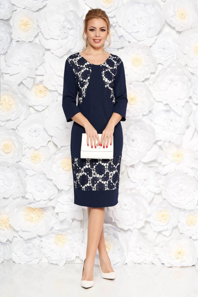 Rochie dreapta eleganta albastra-inchis cu aplicatii de dantela si maneci trei-sferturi