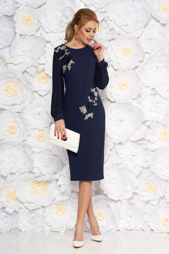 Rochie midi albastra-inchis de ocazie eleganta realizata din scuba si voal pentru femei plinute