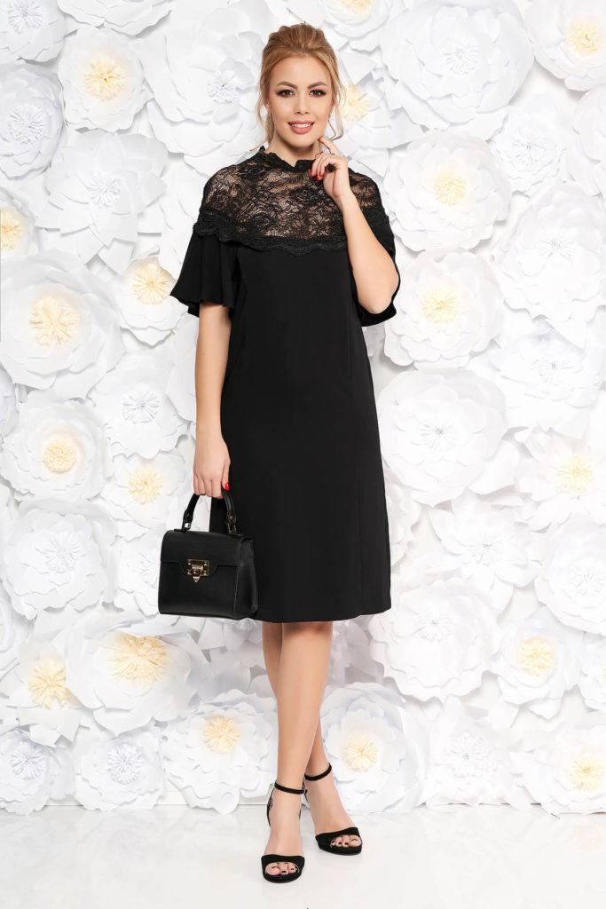 Rochie eleganta de primavara neagra cu croi larg cu maneci clopot