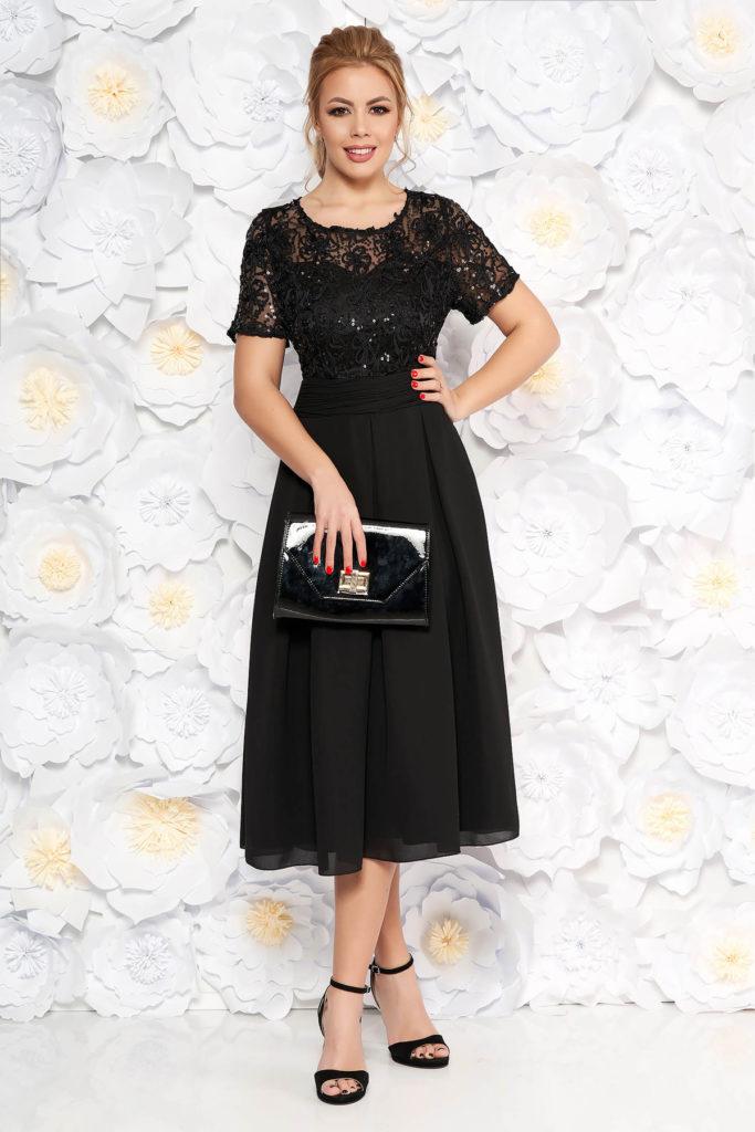 Rochie eleganta de ocazie neagra cu spatele decupat si aplicatii de dantela cu paiete pentru femei plinute