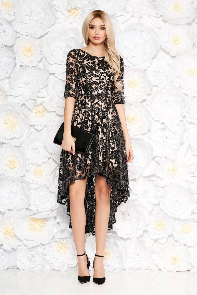Rochie de seara neagra asimetrica din dantela cu paiete intr-o croiala diafana