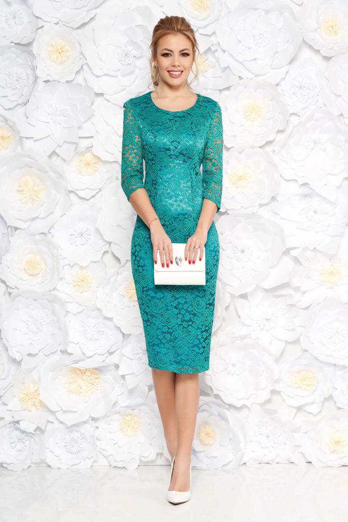Rochie midi verde-turcoaz de ocazie tip creion din dantela pentru femei plinute