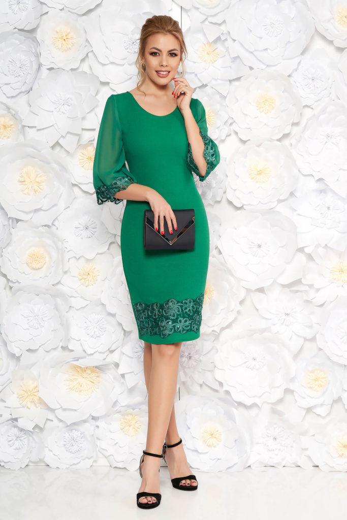 Rochie midi tip creion eleganta verde cu aplicatii de paiete ptrivita pentru doamnele plinute